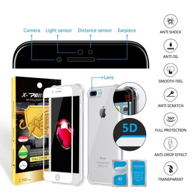 Iphone 7 Plus حماية الشاشه المتكامله ماركة اكس بانثر مع جراب مضماد للصدمات وحمايه للكاميرا